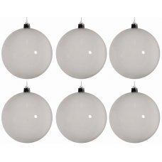 Χριστουγεννιάτικες Μπάλες Λευκές - Σετ 6 τεμ. (8cm)