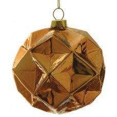 Χριστουγεννιάτικη Γυάλινη Μπάλα Μπρονζέ, με Ανάγλυφα Σχέδια - Ρόμβοι (8cm)