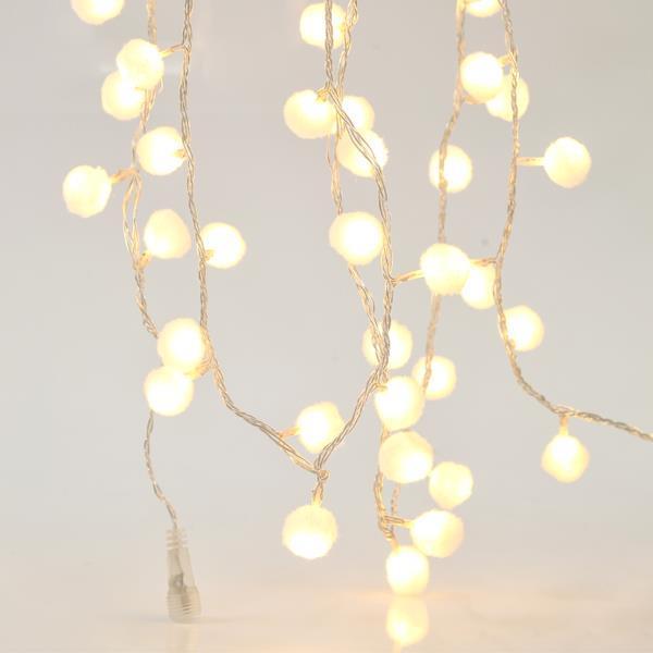 100 Φωτάκια LED Επεκτεινόμενα με Υφασμάτινες Λευκές Μπαλίτσες (5m)