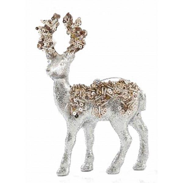 Χριστουγεννιάτικoς Τάρανδος Ασημί με Πούλιες (13cm)