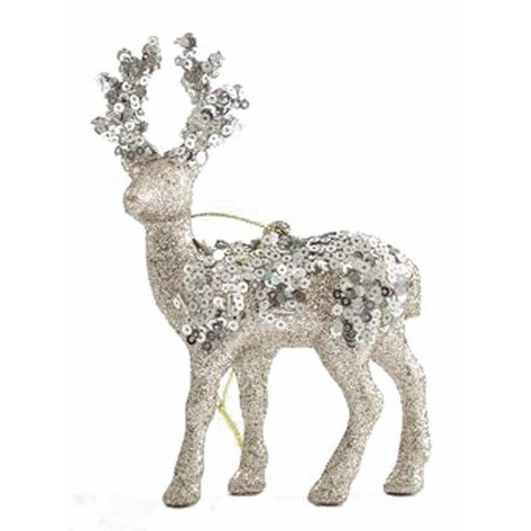 Χριστουγεννιάτικoς Τάρανδος Χρυσός με Πούλιες (13cm)