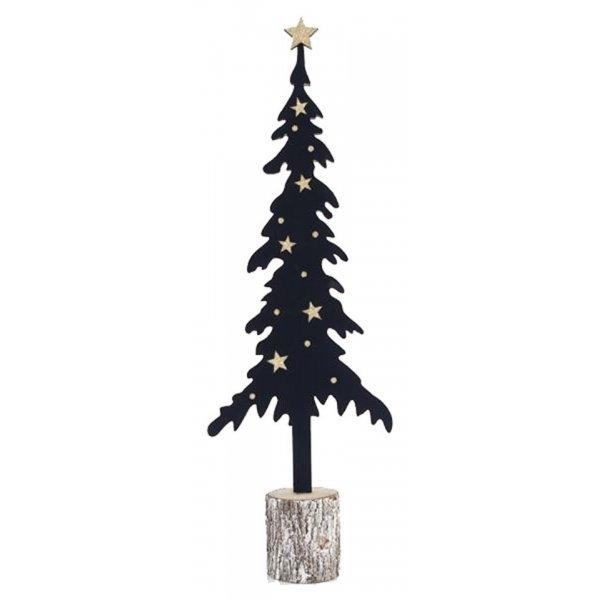 Χριστουγεννιάτικο Διακοσμητικό Κυπαρίσσι Μαύρο με Αστέρια (53cm)