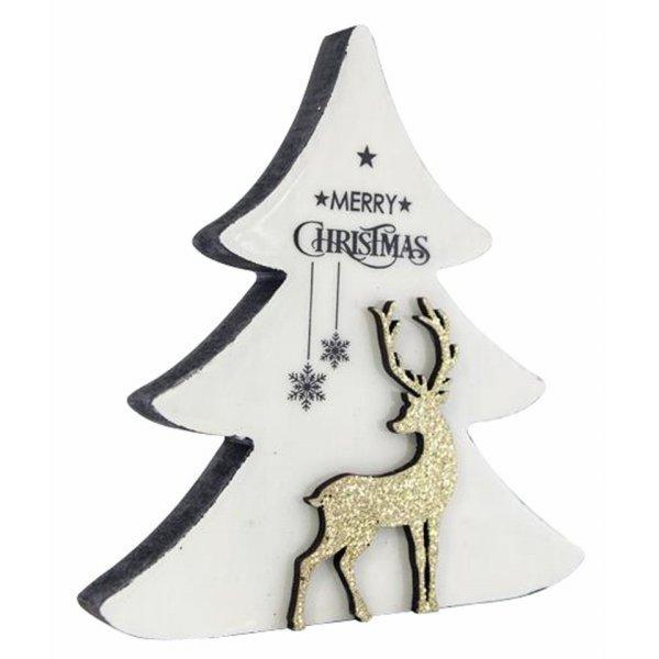 Χριστουγεννιάτικη Διακοσμητική Δεντράκι Λευκό με Τάρανδο (18cm)