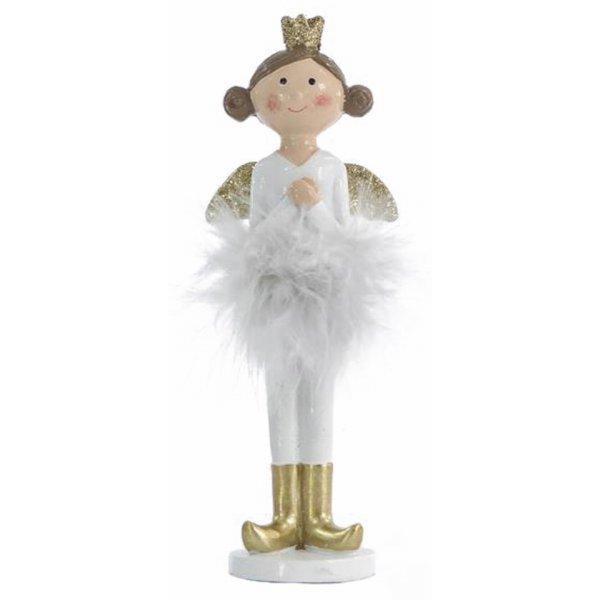 Χριστουγεννιάτικη Διακοσμητική Νεράιδα Λευκή με Χρυσά Φτερά (16.5cm)