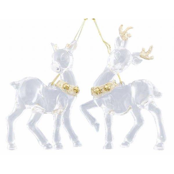 Χριστουγεννιάτικο Ελάφι Διάφανο με Στρας (13cm)