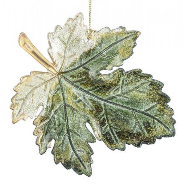 Χριστουγεννιάτικo Αμπελόφυλλο Πράσινο με Στρας (12cm)