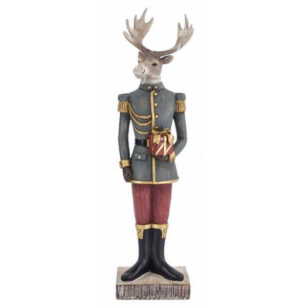 Χριστουγεννιάτικο Διακοσμητικό Ελάφι Στρατιώτης με Δώρο (38cm)