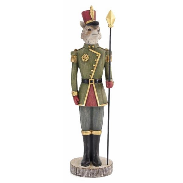 Χριστουγεννιάτικη Διακοσμητική Αλεπού Στρατιώτης Πολύχρωμη (35cm)