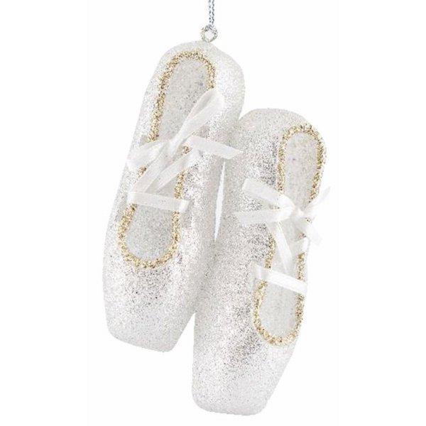 Χριστουγεννιάτικα Παπούτσια Μπαλαρίνας Ασημί με Στρας (10cm)