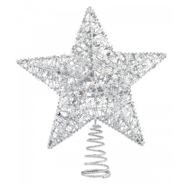 Χριστουγεννιάτικη Κορυφή Δέντρου Αστέρι Ασημί (30cm)