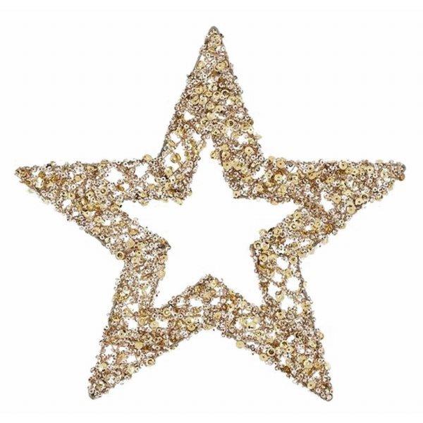 Χριστουγεννιάτικo Διακοσμητικό Αστέρι Χρυσό με Παγιέτες (25cm)