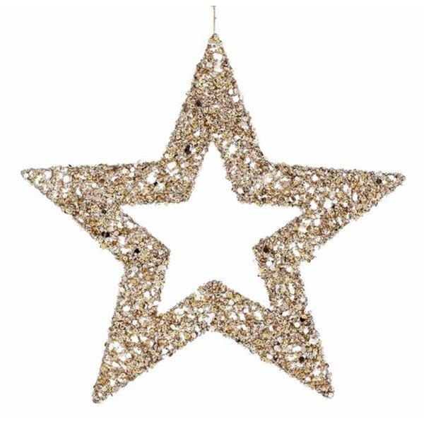 Χριστουγεννιάτικo Διακοσμητικό Αστέρι Χρυσό με Παγιέτες (45cm)