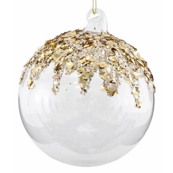 Χριστουγεννιάτικη Μπάλα Γυάλινη Διάφανη με Χρυσά Σχέδια - Σετ 4 Τεμ. (10cm)