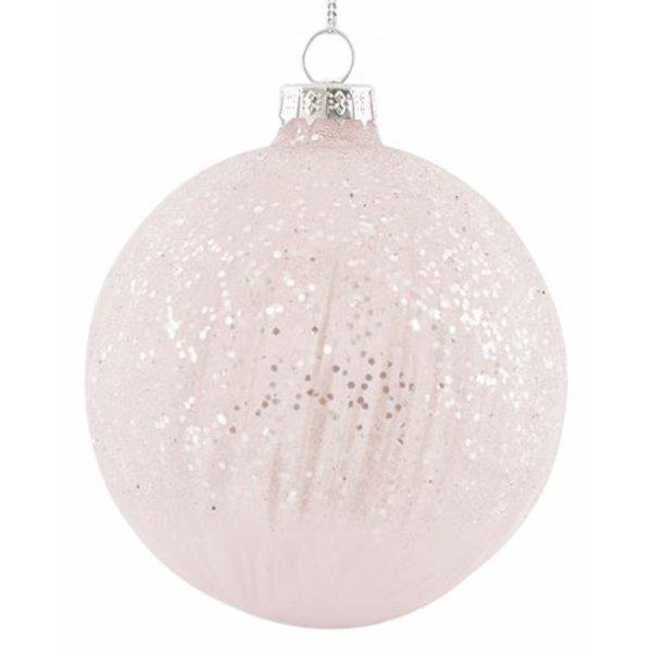 Χριστουγεννιάτικη Μπάλα Γυάλινη ροζ με Γκλίτερ - Σετ 4 Τεμ. (8cm)