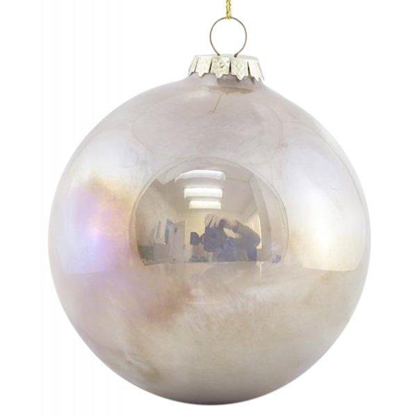 Χριστουγεννιάτικη Μπάλα Γυάλινη Μπεζ Ιριδίζουσα - Σετ 4 Τεμ. (10cm)