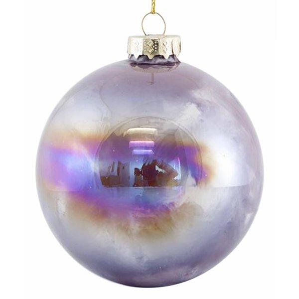 Χριστουγεννιάτικη Μπάλα Γυάλινη Μωβ Ιριδίζουσα Σετ 4 τεμ. (8cm)