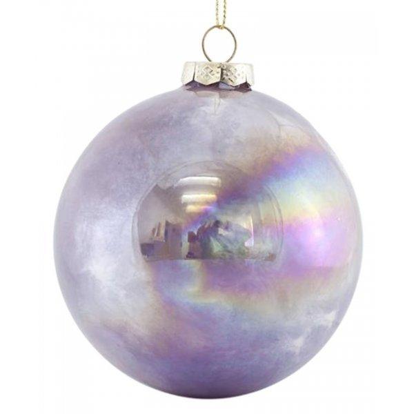 Χριστουγεννιάτικη Μπάλα Γυάλινη Μωβ Ιριδίζουσα Σετ 4 τεμ. (10cm)