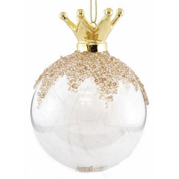 Χριστουγεννιάτικη Μπάλα Γυάλινη Διάφανη με Κορώνα και Πούπουλα Σετ 2 τεμ. (10cm)