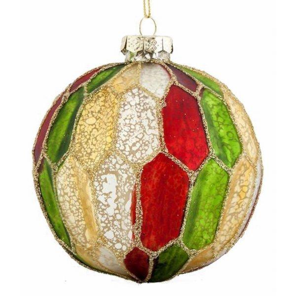 Χριστουγεννιάτικη Μπάλα Γυάλινη Πολύχρωμη Κυψελωτή Σετ 4 τεμ. (10cm)