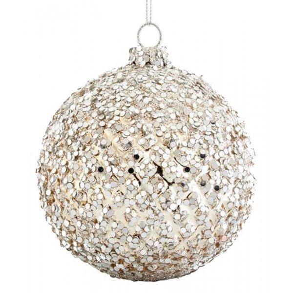 Χριστουγεννιάτικη Μπάλα Γυάλινη Ασημί με Πούλιες Σετ 4 τεμ. (8cm)