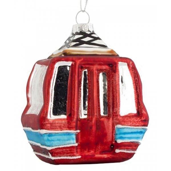 Χριστουγεννιάτικo Γυάλινo Tελεφερίκ Κόκκινο (11.5cm)