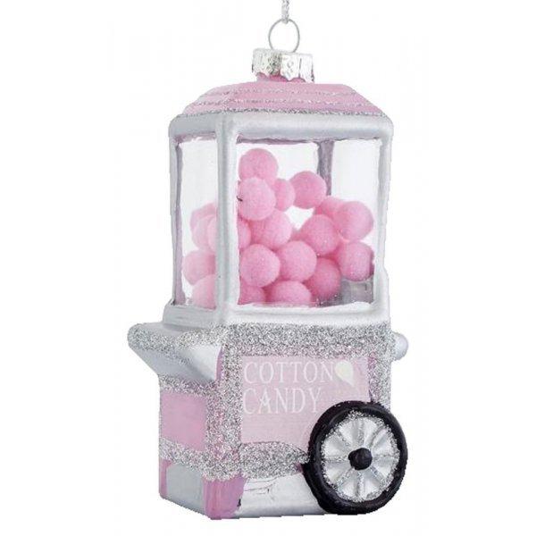Χριστουγεννιάτικo Γυάλινo Στολίδι με Μαλλί της Γριάς ροζ (12cm)
