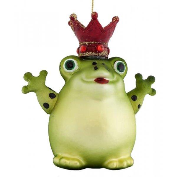 Χριστουγεννιάτικoς Γυάλινoς Βάτραχος Πράσινος (11cm)