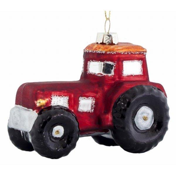 Χριστουγεννιάτικo Γυάλινo Τρακτέρ Κόκκινο (9cm)