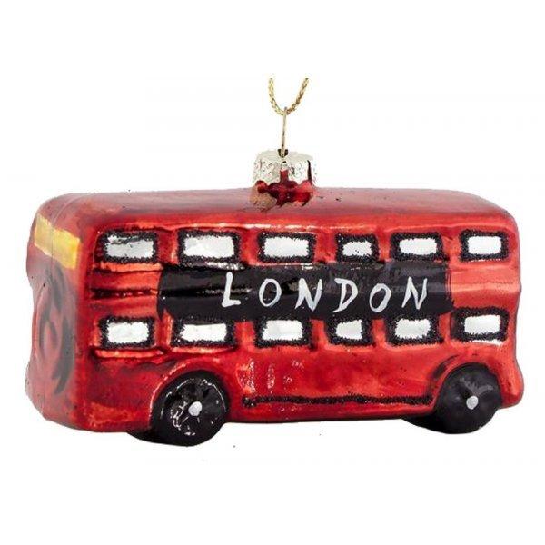 Χριστουγεννιάτικo Γυάλινo Λεωφορείο Κόκκινο (9cm)