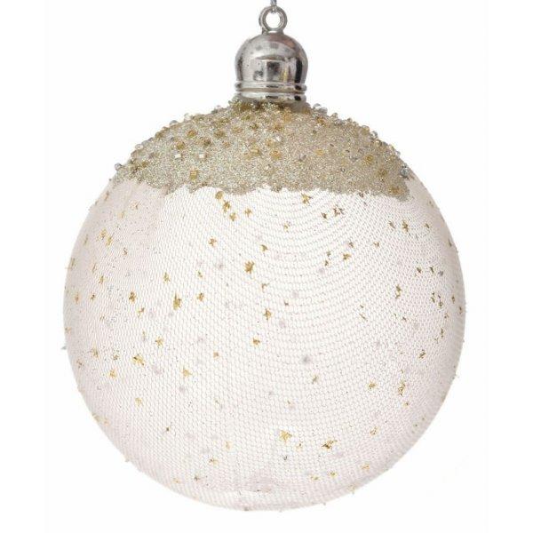 Χριστουγεννιάτικες Μπάλες Χρυσές με Δίχτυ - Σετ 4 τεμ. (10cm)