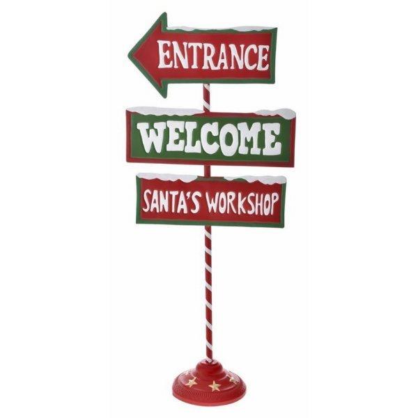 """Χριστουγεννιάτικη Διακοσμητική  Μεταλλική Πινακίδα """"Welcome"""" (92cm)"""
