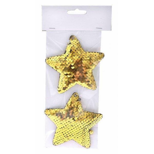 Χριστουγεννιάτικα Αστέρια Χρυσά με Πούλιες - Σετ 2 τεμ. (10cm)