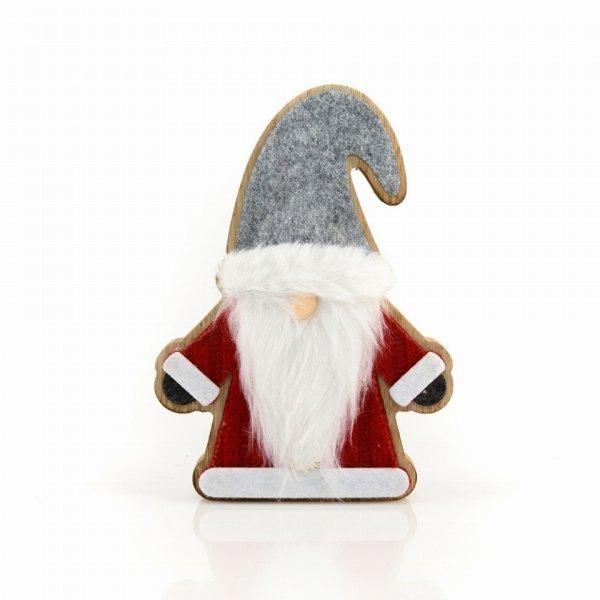 Χριστουγεννιάτικος Ξύλινος Άγιος Βασίλης Κόκκινος (11cm)