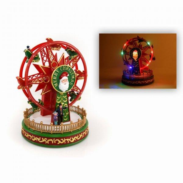Χριστουγεννιάτικη Διακοσμητική Πλαστική Ρόδα με LED Πολύχρωμο Και Ήχο (22cm)