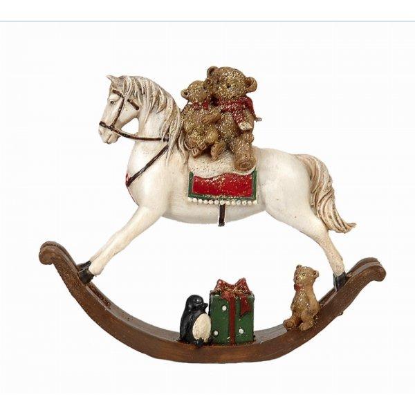 Χριστουγεννιάτικο Διακοσμητικό Άλογο Λευκό (11,5cm)