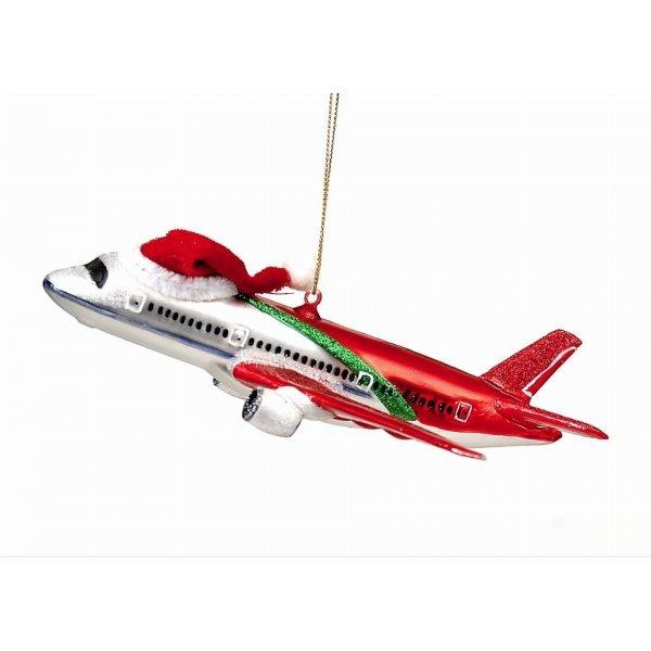 Χριστουγεννιάτικο Γυάλινο Αεροπλάνο Κόκκινο (17cm)