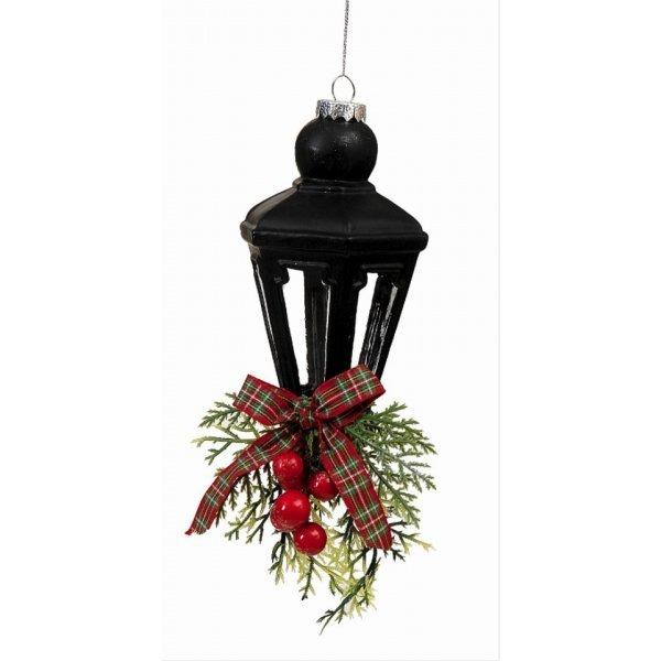 Χριστουγεννιάτικο Γυάλινο Φανάρι Μαύρο (30cm)