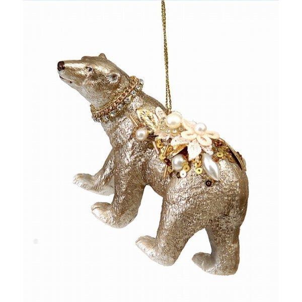 Χριστουγεννιάτικο Γυάλινο Αρκουδάκι Χρυσό (12cm)