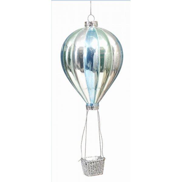 Χριστουγεννιάτικο Γυάλινο Αερόστατο Μπλέ (24cm)